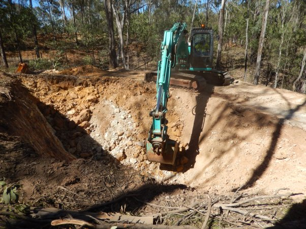 Digging trench on contour