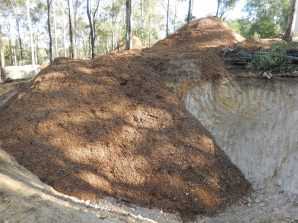 Woodchip heading into trenches