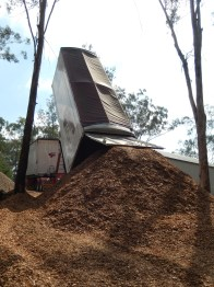 Truck dropping off woodchip