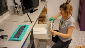 Eloisa cleaning in the Studio