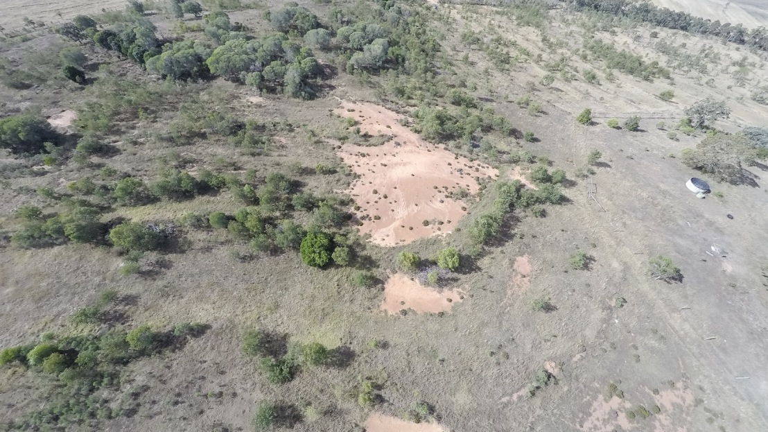 Aerial photo of exposed soil site - July 2018