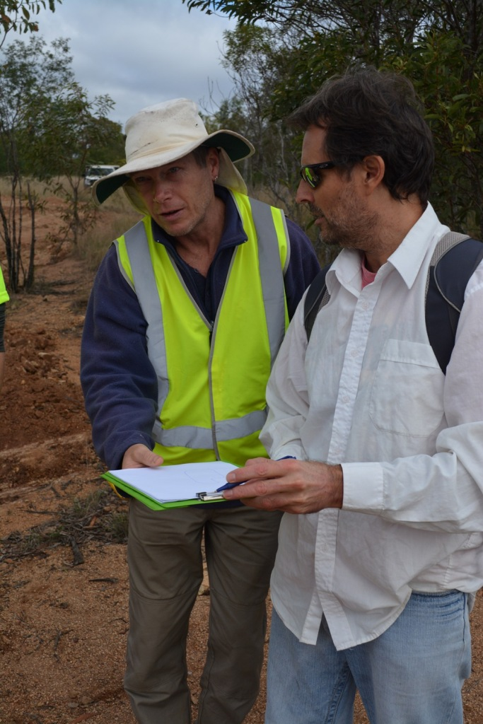 Jesus and David Walsh on a site visit to the property