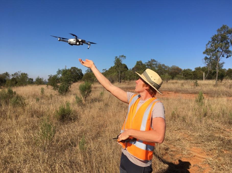 Drone recording the progress