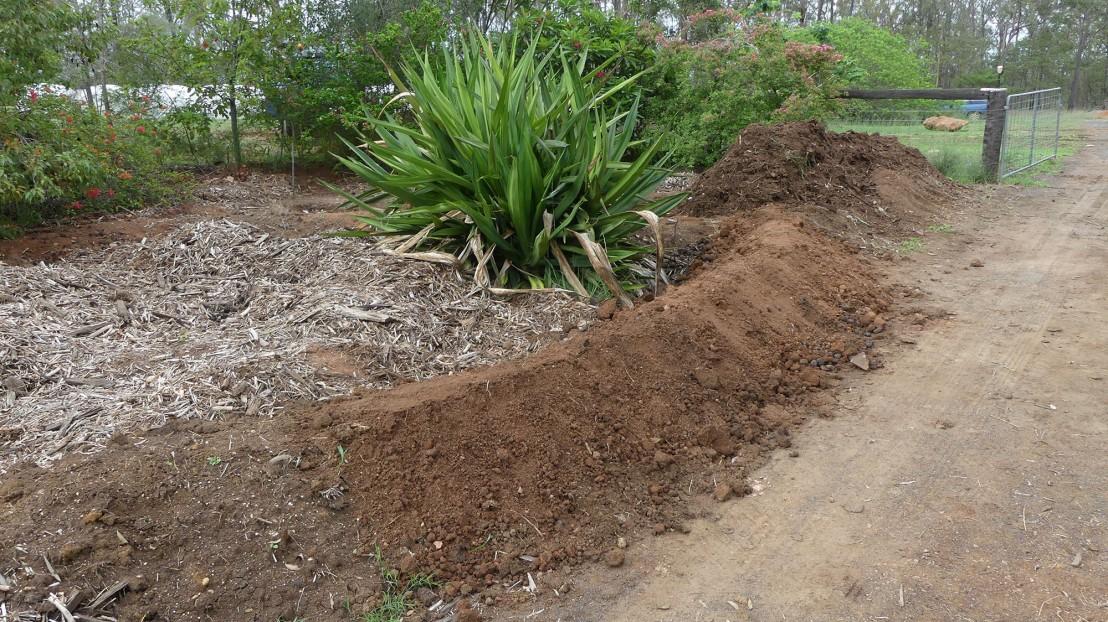 Earthworks ready for mulch, February 2020.