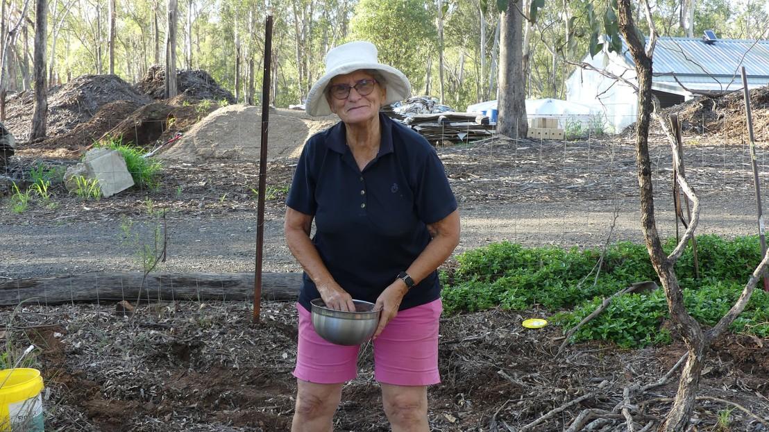 Catherine planting seeds