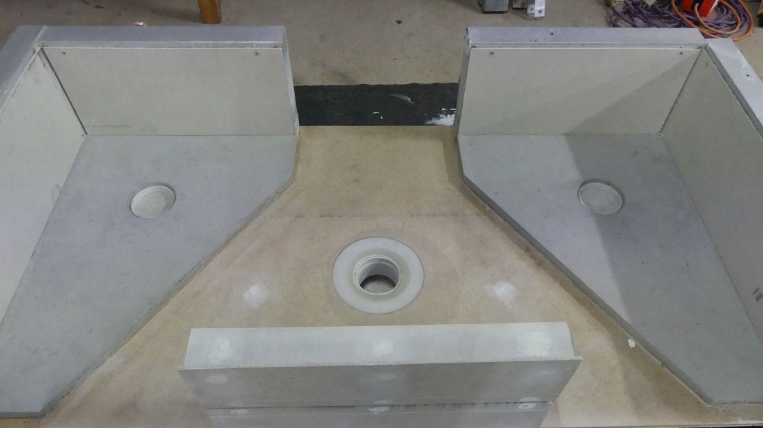 Mock up of the bathroom drain for testing waterproofing membrane products