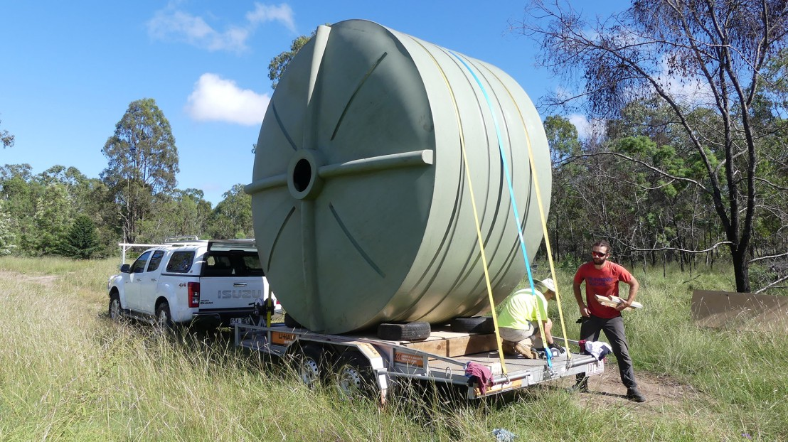 Tank loaded on trailer and ready to transport