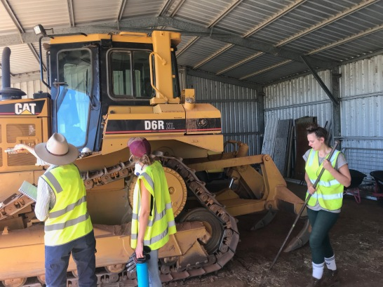 Participants assess the dozer before beginning to clean