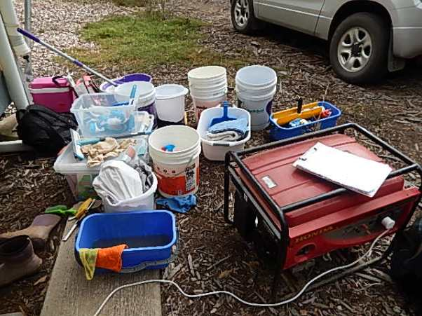 Equipment ready for cleaning the eco tents