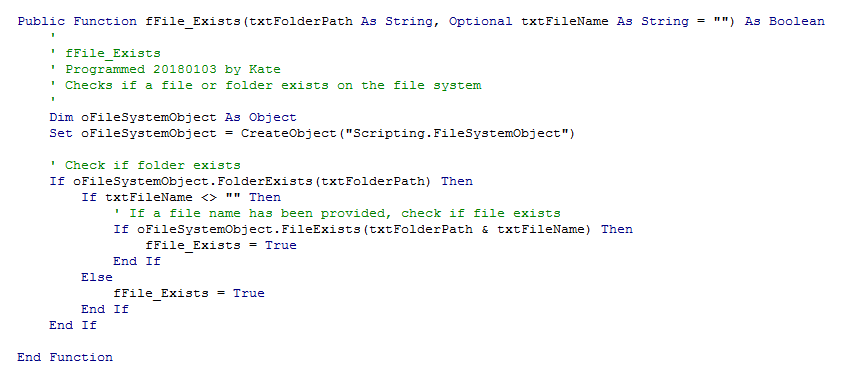 Code to check if a file or folder exists