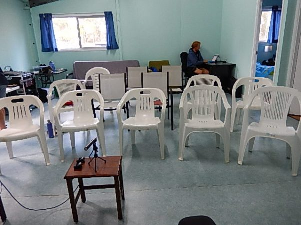 Room setup for a meeting to be held at the hostel
