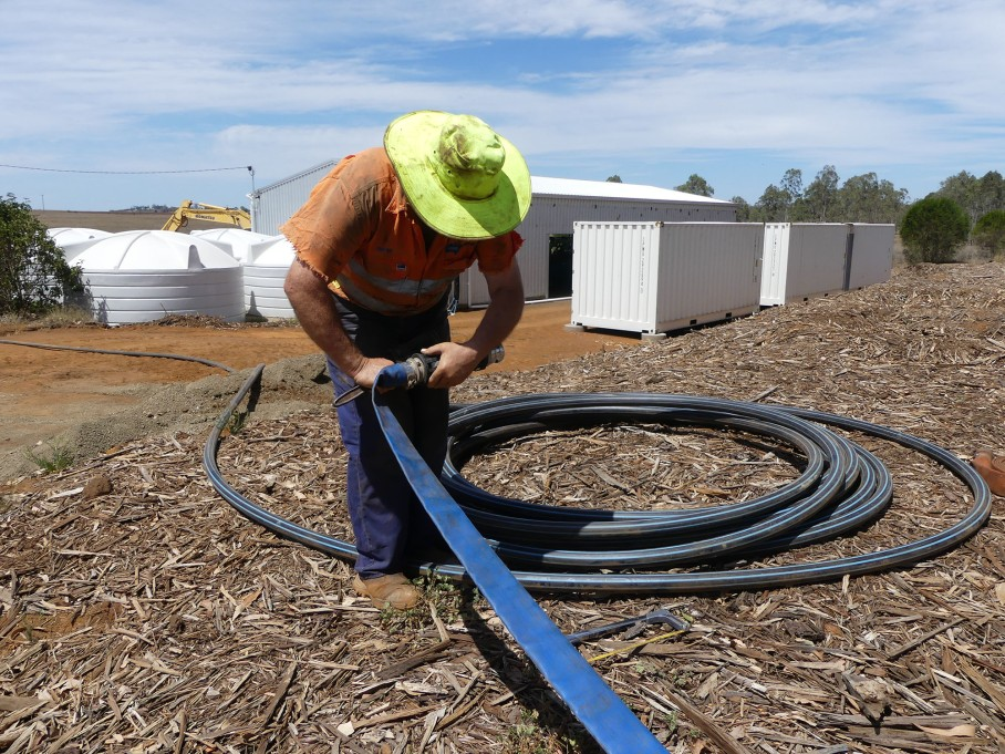 Lay flat hose is attached to the pipe for distributing the water into the garden
