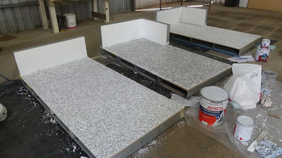 Samples using different polyurethane flooring products