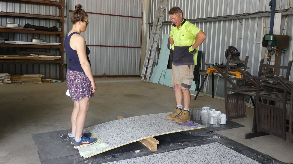 Corny & helpers test flooring finish products, April 2020.