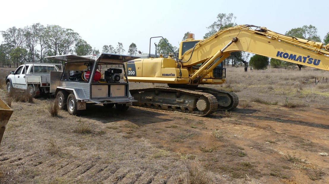 A custom-built trailer carries tools & equipment required for machinery maintenance