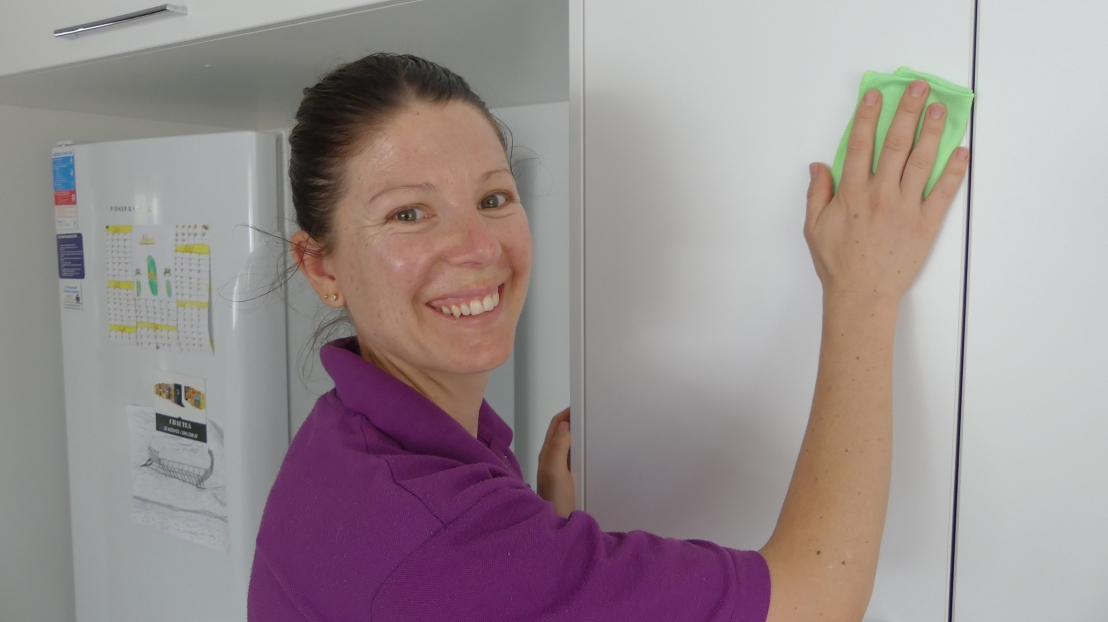 Rahni Longden cleans one of God's Way Ltd's offices