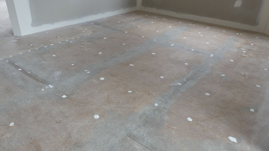 Holes in the floor have been filled