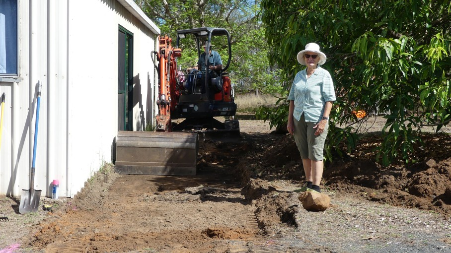 Catherine supervises the hostel landscaping experiment