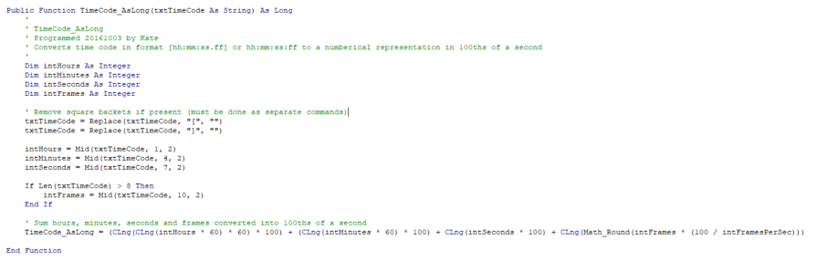 Code used by the new app when performing mathematics on times (Click to enlarge image)