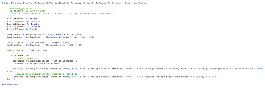 Code used by the new app for converting and formatting time codes (Click to enlarge image)