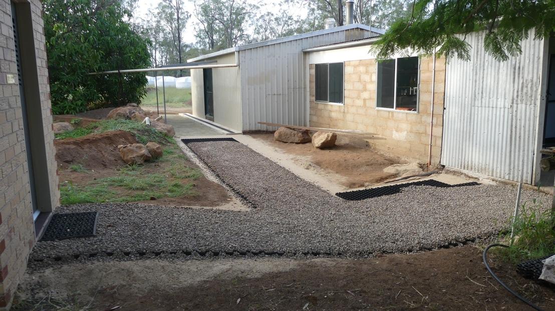 Hostel courtyard garden under construction, April 2020.