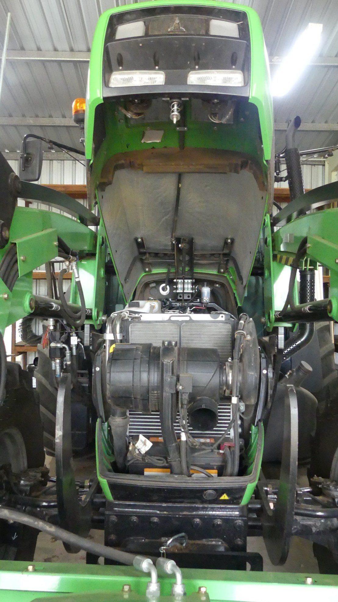 Tractor engine bay, April 2020.
