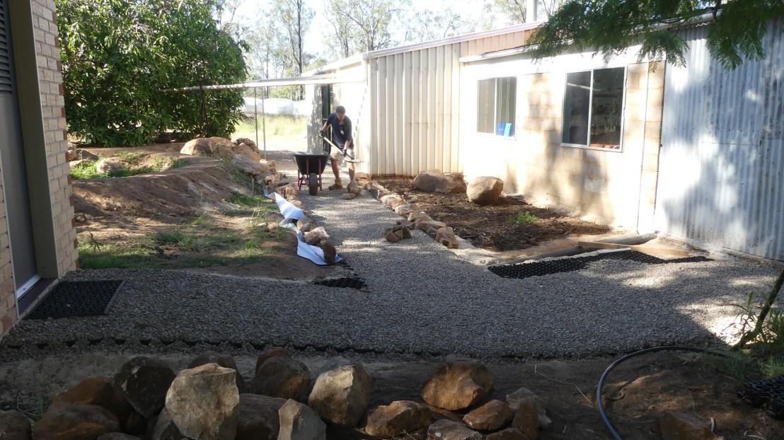 Volunteer works on the Hostel Landscaping project, April 2020.