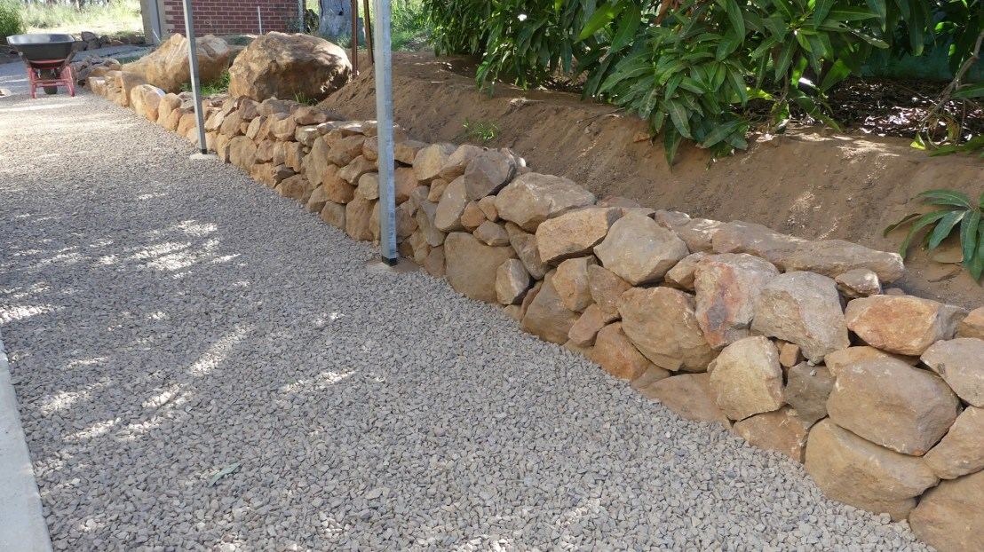 Hostel retaining wall completed, April 2020.