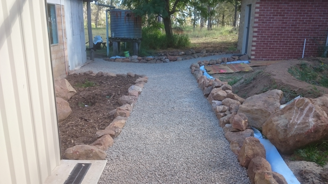 Hostel courtyard garden area & pathway complete, April 2020.