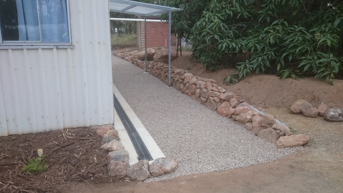 Hostel pathway, retaining wall & awning completed, April 2020.