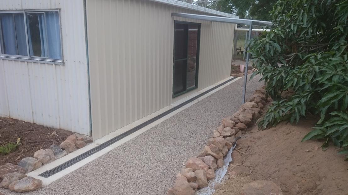 Hostel path, drainage & retaining walls complete, April 2020.
