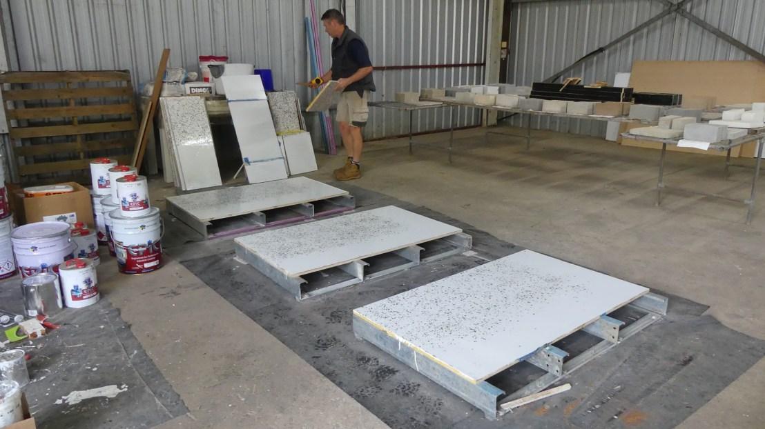 Flooring finish experiments, April 2020.
