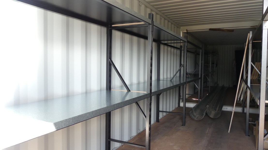 Shelves set up in shipping containers, May 2020.