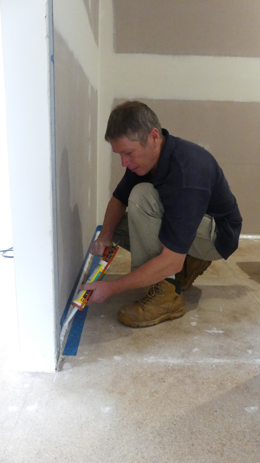 Silicone applied to bathroom areas, May 2020.