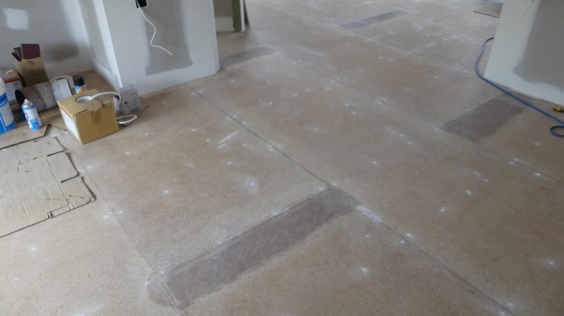 Caretakers floor prepared for flooring finish application, May 2020.