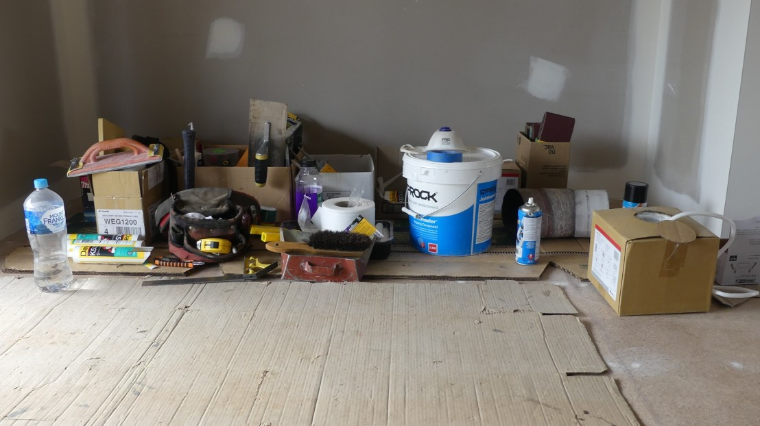 Tools & equipment used for plastering, flooring finish & waterproofing, May 2020.