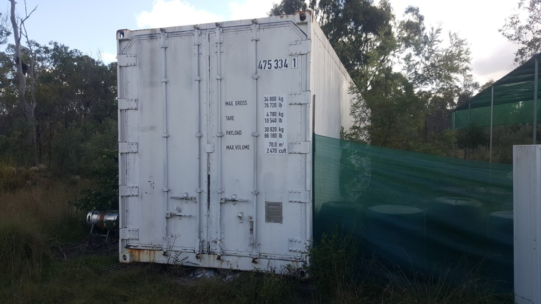 Refrigerated container (some condensation in this container) front view.