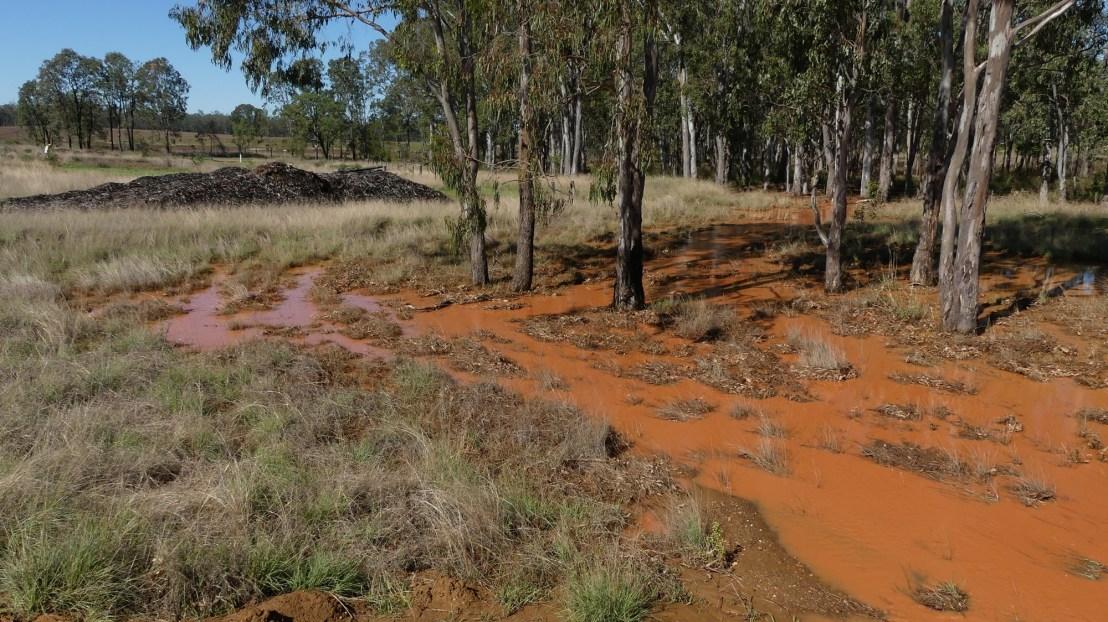 Caretakers dam overflow with running water, October 2020.