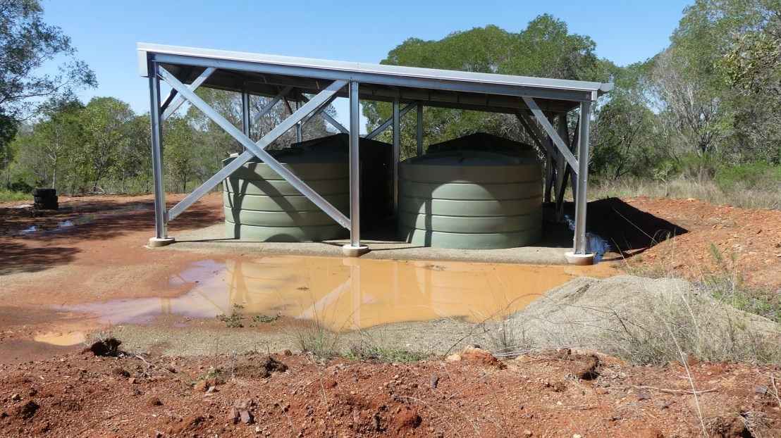 10m x 10m shed after rain, September 2020.